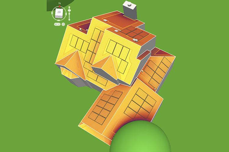 Roof Top Solar Panel Install Rendering